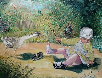 Little girl with the goose-by-Livia-Geambasu-rouavision-ro