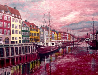 Nyhavn-at-sunset-tempera-50x70