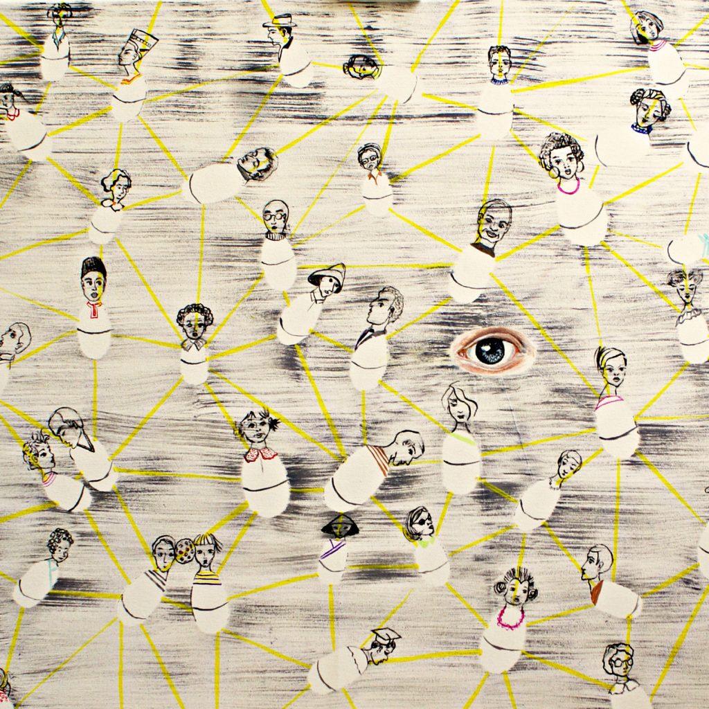 Roly-Poly Humans by Livia Geambasu, 80x80cm, acrylic