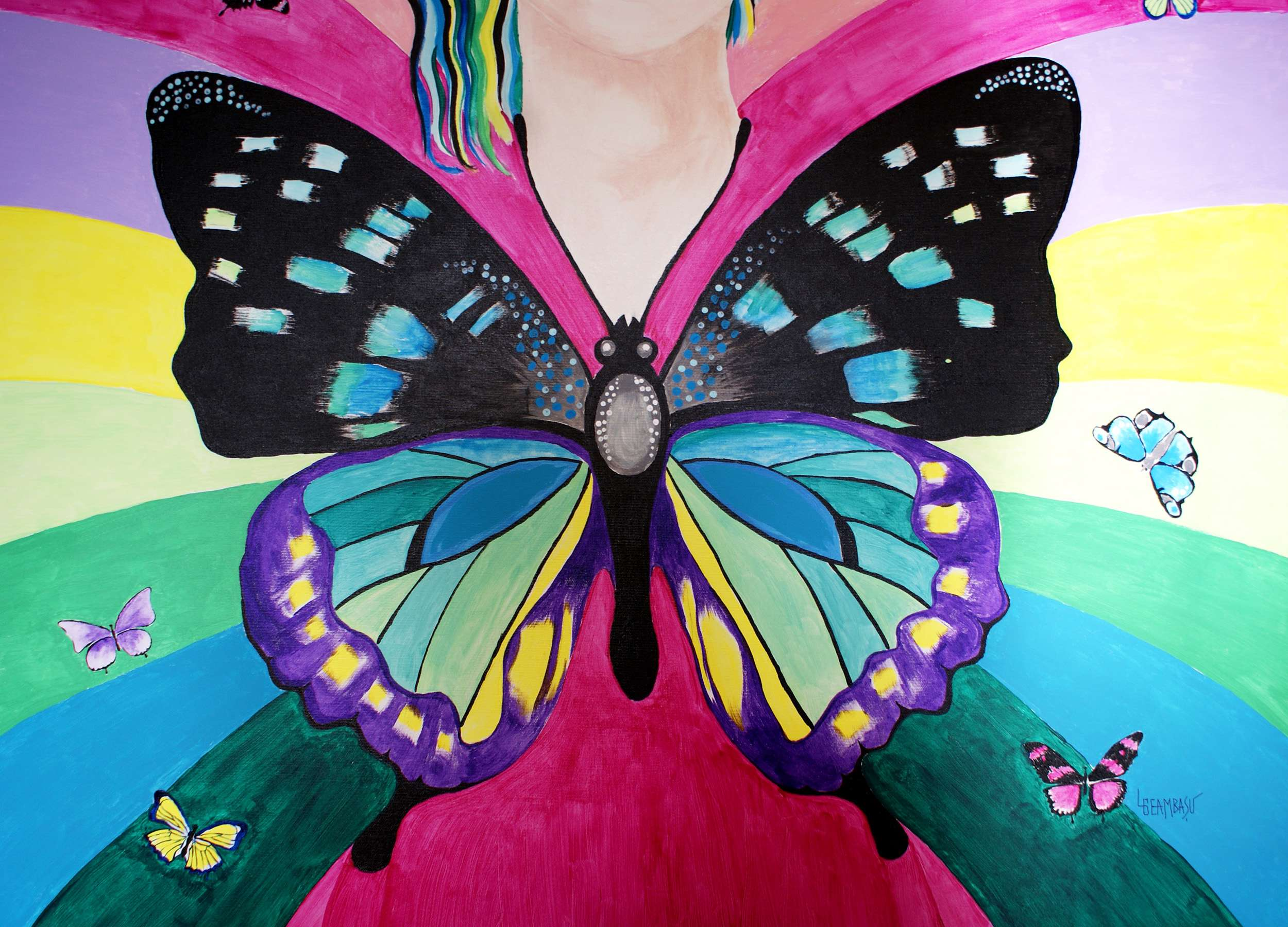 Free-as-a-Butterfly-mixed-media-acrylic+oil-120x100cm-by-Livia-Geambasu