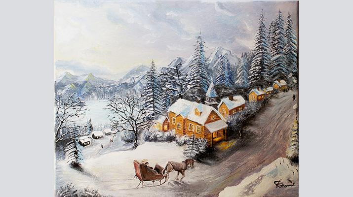 Winter-Story-oil-on-canvas-40x50cm-by-livia-geambasu